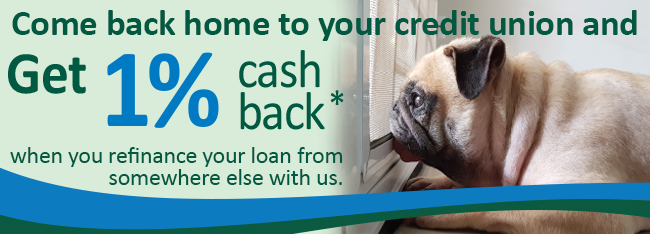 Come back home to your credit union and get 1% cash back!